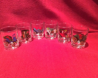 VMC Reims French Retro Classic Cars Shot Glasses 1970's