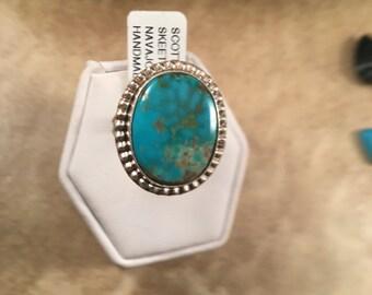 Vintage Navajo Kingman turquoise & Sterling Silver Ring Size 6