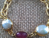 Gold Link Chain Bracelet with Pink tourmaline and 2 baroque freshwater pearl, lobster clasp, 22k gold plated,7.5 inch length (18.5 cm)