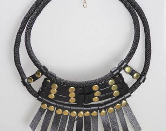 Ethnic statement leather necklace