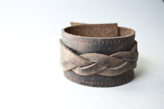 Women's Brown Braided Leather Cuff:  Rustic Leather Bracelet--Limited Edition Leather Cuff Bracelet