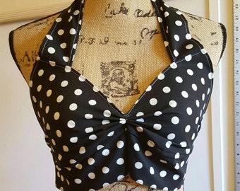 PINUP - ROCKABILLY - RETRO - Vintage - style - polka - dot - halter