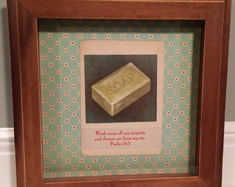 """Shadowbox frame """"Wash away all my iniquity..."""""""