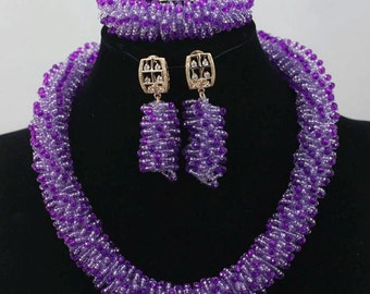 New Lilac Purple Seed Bead African Jewellery Sets