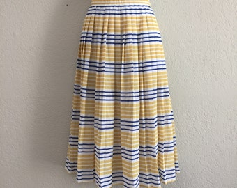 70s pleated striped nautical skirt