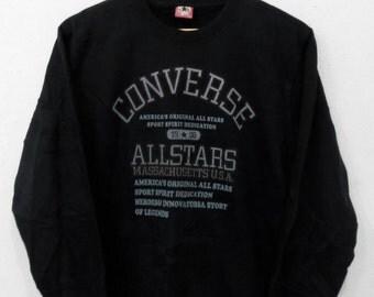 RARE!!! Converse All Stars Big Logo SpellOut Crew Neck Black Colour Sweatshirts Hip Hop Swag M Size
