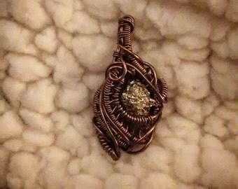 Wire wrapped pyrite mini pendant