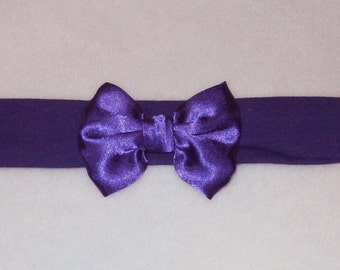 Baby's Royal Purple Cotton Lycra Hair Band with Satin Bow 0-36 months Headband