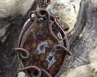 Swirls and Jasper Pendant in Antiqued Copper