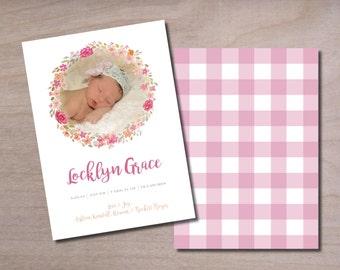 Birth Announcement • Baby Girl • Floral Wreath • Gingham • Custom Invitation • Printable • Digital • Photo Card