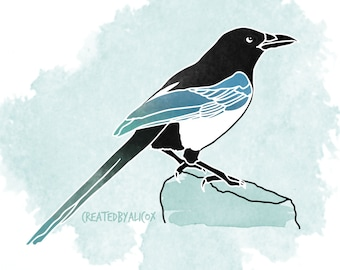 Magpie 'Blue Corvid' Bird Nature Digital Illustration Poster (A4/A3)