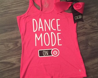 Pink Dance Mode / Cheer Mode Performance Tank...add a bow!
