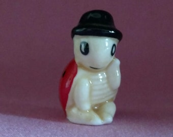 Vintage china lady bug with hat figurine