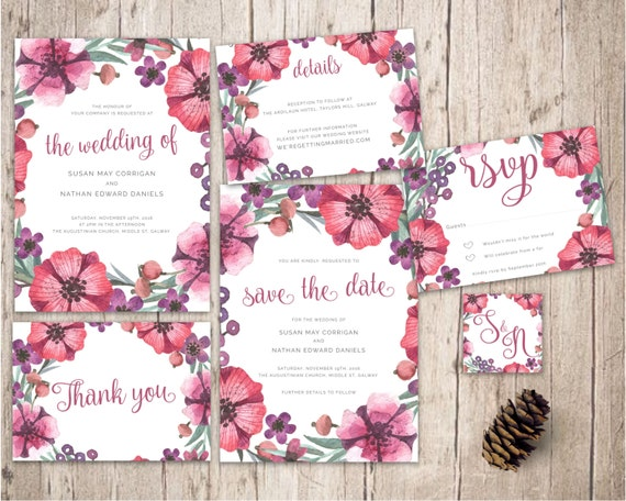 Peonies Wedding Invitation Set