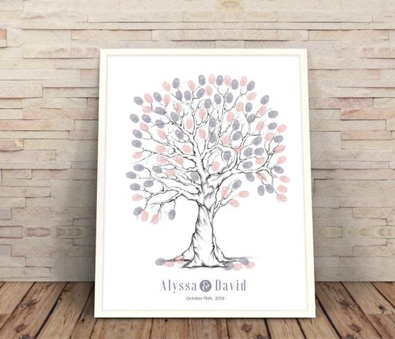 purple finger print tree, wedding guest book alternative, wedding ...