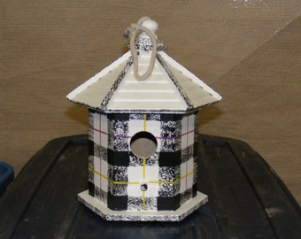 Adorable Scottish Tartan White Birdhouse