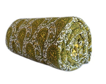 Bohemian green paisley quilt. Wood-block printed by hand on extra soft  voile.