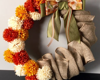 Burlap & Floral Autumn Wreath // Thanksgiving Decor // Fall Decor // Autumn Decor // Front Door Decor