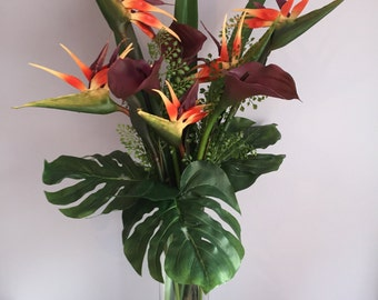 Real Touch Birds of Paradise and Calla Lilies & Artificial Water in Cylinder Vase