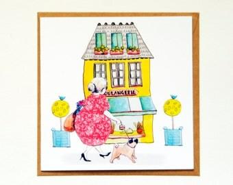 Pug shopping greetings card.  Blank greetings card.  Pug blank card.  Illustrated pug shopping birthday card