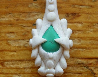 Polymer clay necklace pendant w/ stone
