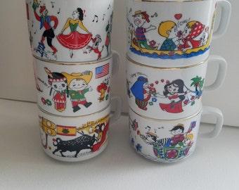Vintage Hellerware Porcelain Mugs Children around the World