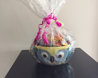 Owl bowl with assorted candy bars