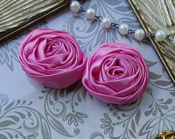 Hot Pink Satin Ribbon Roses