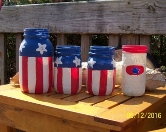 Stars and Stripes Ball Mason Jars