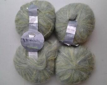 "Kid mohair yarn, Cascade Yarns, ""BOLLICINE SISSI"" beautiful soft celery green color"