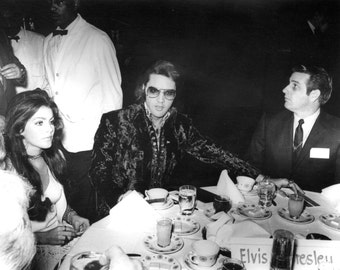 Elvis & Priscilla Presley w/ Shelby County Sheriff Bill Morris at Jaycees Reception at Graceland in 1970 - 5X7, 8X10 or 11X14 Photo (EP-026)
