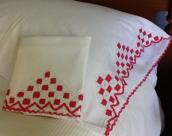 Embroidered & Crocheted Pillow Cases (2)