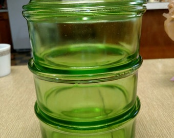 Hazel Atlas vintage green glass stacking storage bowls.