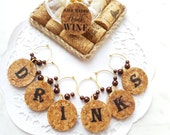 Personalized Cork Wine Charms Set of 6 - Wine Cork Wineglass Charms Set - Wine Charm Set -Wine Charms -Wine Accessories- Eсо Friendly Gift