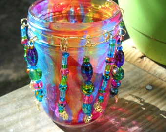 Rainbow Up-cycled beaded glass candle holder