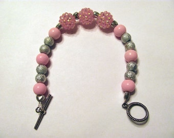 Pink and Silver Single Strand Bracelet Breast Cancer Awareness