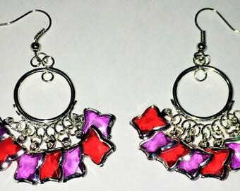 Two-Colored Butterfly Chandelier Earrings