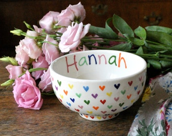 Personalised Love Hearts Cereal Bowl