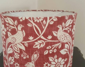 Red 30cm drum ceiling shade with bird and rabbit print