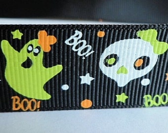 Black Ribbon with Halloween Ghost Pattern