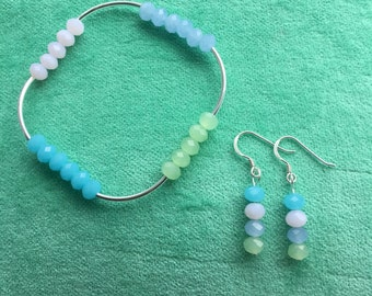 Stunning sterling silver and glass bead bracelet and earring set. Pink, blue & green. Cute gift, summery, summer, pastel colour multicolour