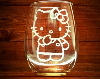Kitty Stemless Wine Glass // Gift For Her // Fathers Day Gift // Birthday Gift // Hello Kitty // Girlfriend Gift // Housewarming Gift