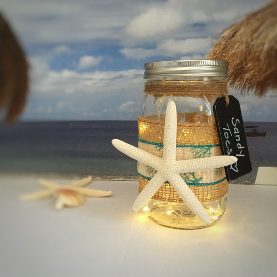 Starfish Jar Light/Sandy Toes/Aqua Blue/Beach Cottage Decor/LED Light/Battery Operated/Outside Party Light/Beach Memories/Seaside Home