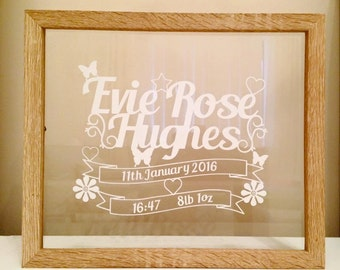 Personalised Birth details in floating frame