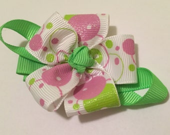Green Pink Flower Bow