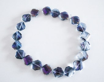"1 Strand 16"" Electroplated Rainbow Blue Purple Rhombus Diamond Faceted Beads"