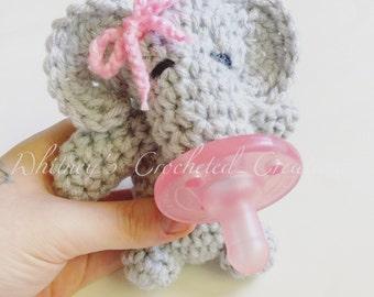 crochet elephant binky buddy, bow tie, pacifier, paci, soothie, handmade, baby shower gift, new baby, elephant plushy, stuffed animal