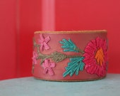 Thelma+ Louise- Custom Leather Belt Cuff Bracelet- Embroidered bright florals