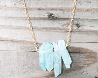 Sky Blue Turquoise Quartz Crystal Necklace