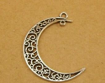 20pcs Oxidized Silver Crescent Filigree Moon Pendants Connectors Two Holes 0201-0106